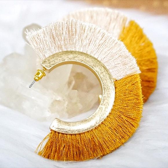 Jewelry - NEW! Mustard Yellow Two Tone Tassel Hoop Earrings
